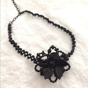Black beaded flower choker